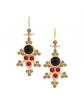 Onyx And Hot Pink Agate Ornate Chandelier Earrings