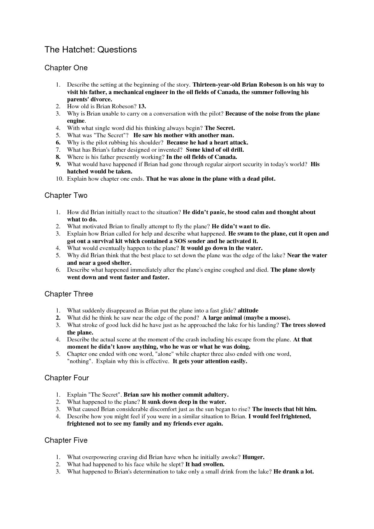 The Hatchet Question Sheet