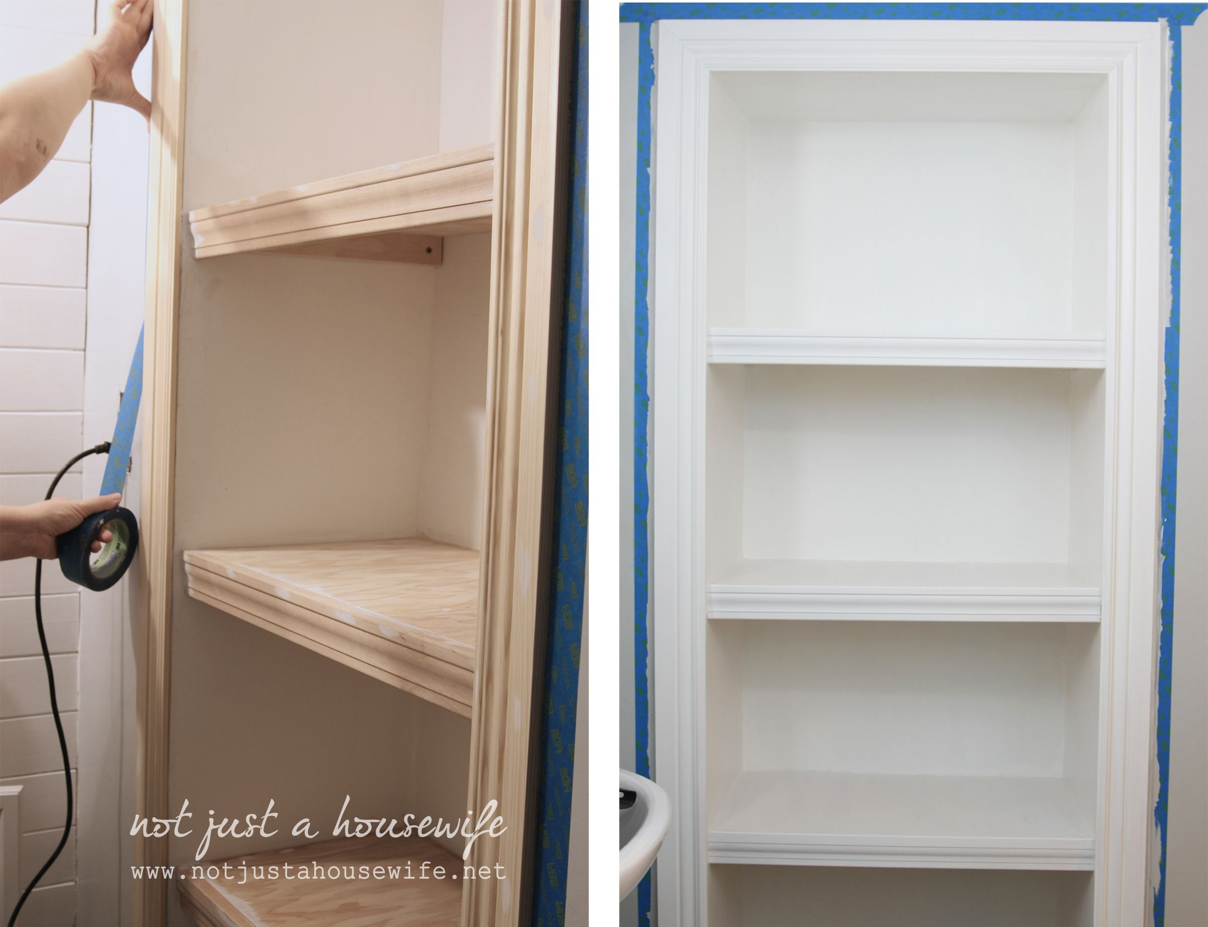 painting the finished wallinserted bathroom shelves