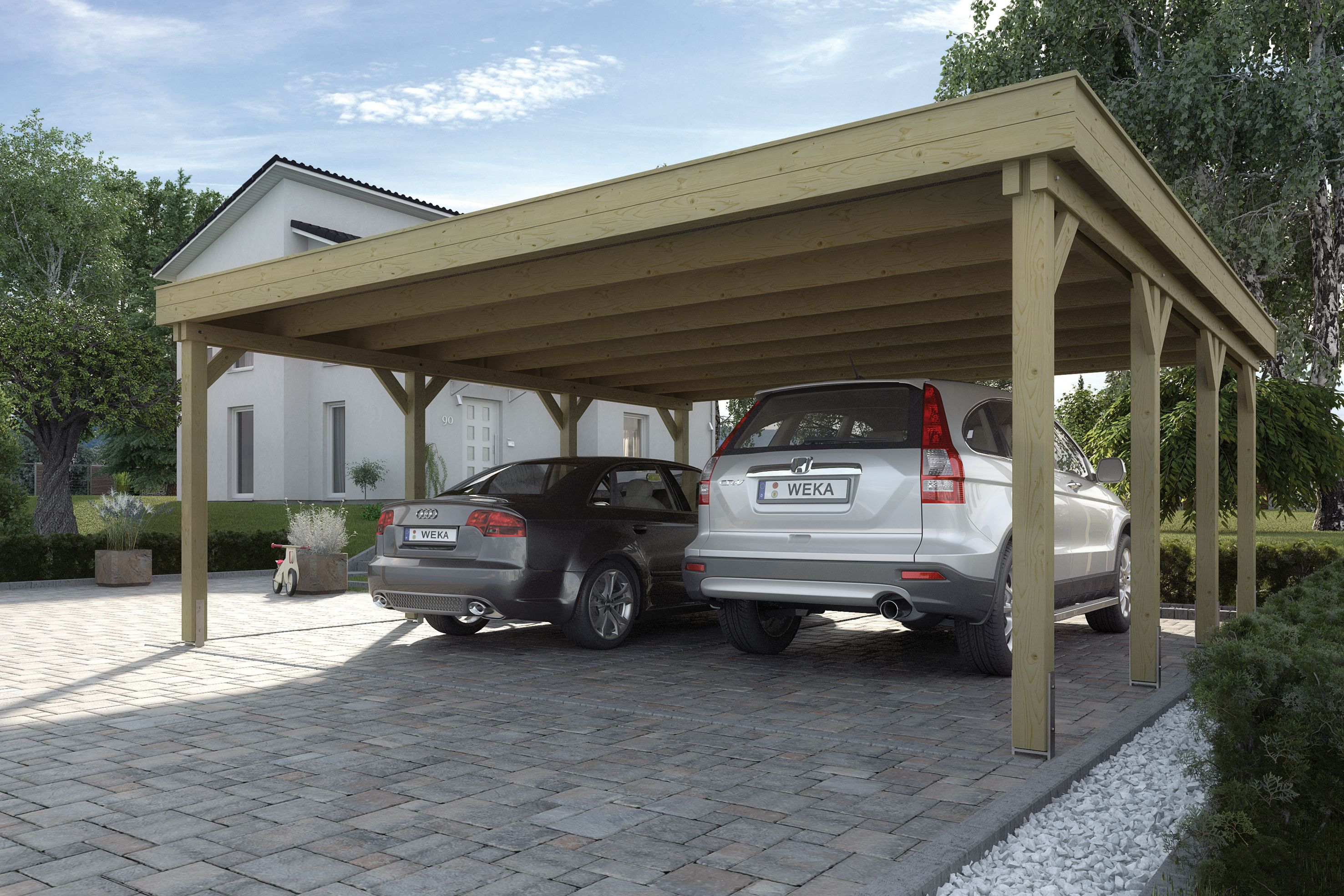 Een carport met stevige staanders en een flink boeiboord