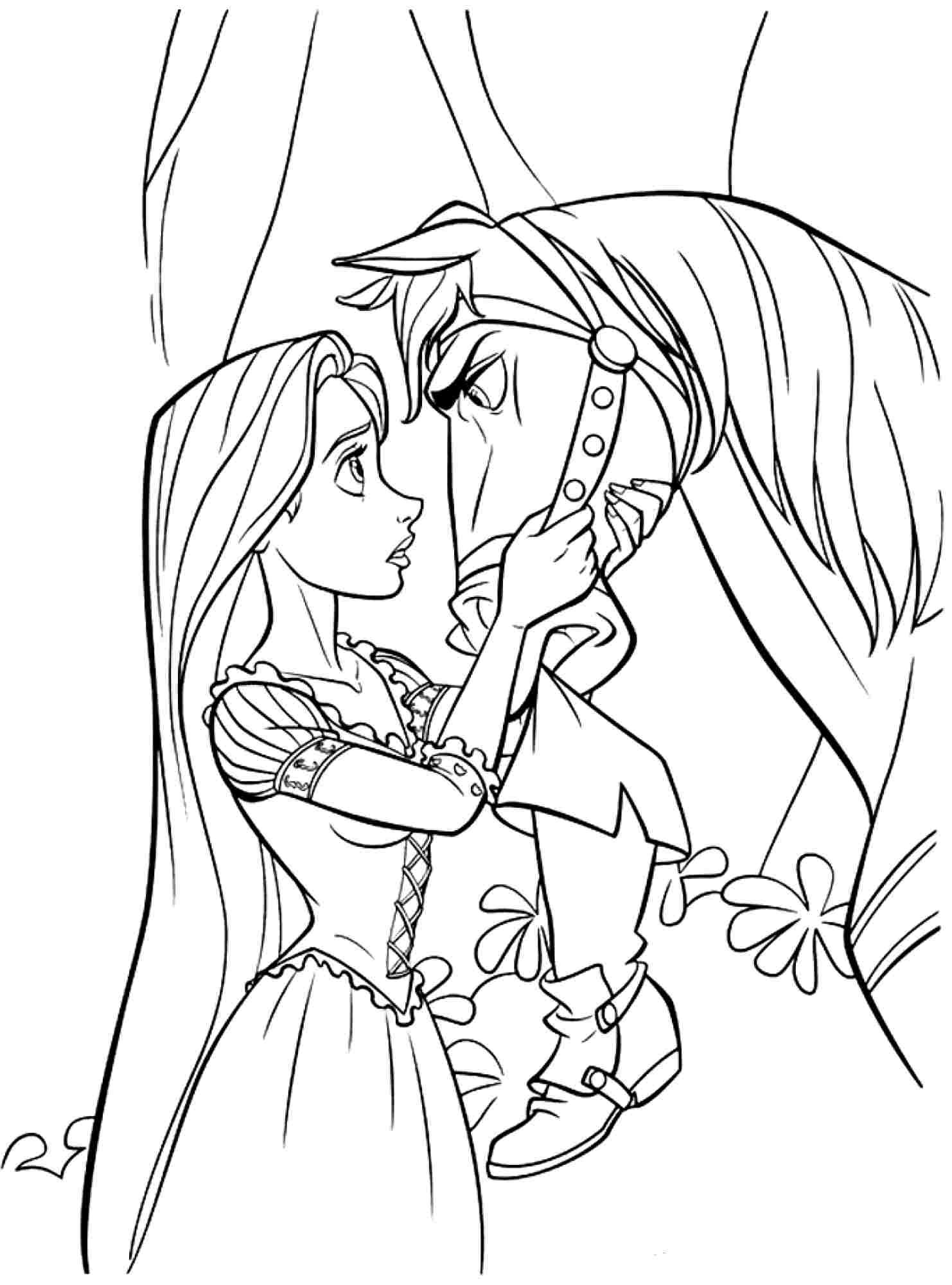 free disney princess tangled rapunzel coloring sheets for