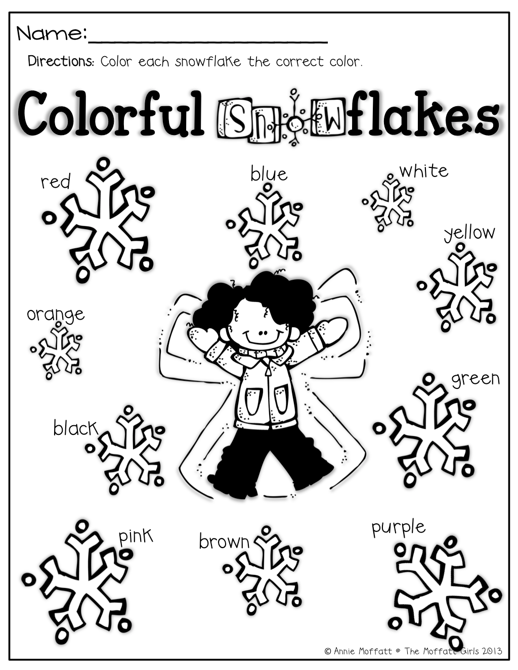 Working With Color Words Color The Snowflake The Correct Colors