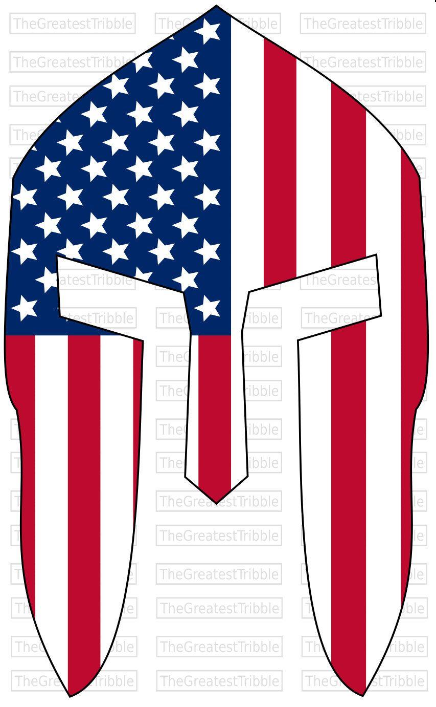 Spartan Helmet Front USA Flag American Flag svg png jpg