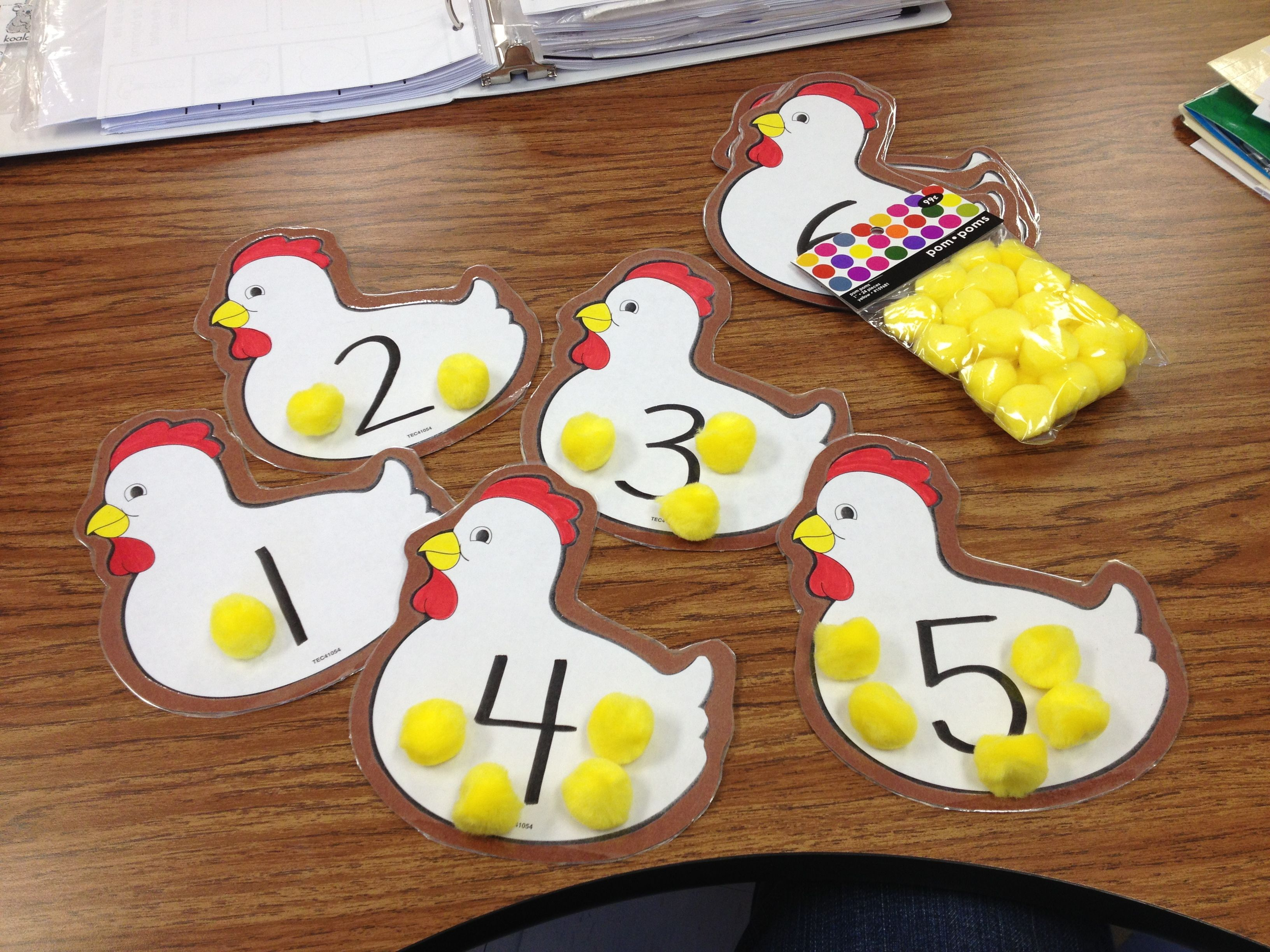 Pre K Counting Activity Hens And Baby Chicks Pom Poms