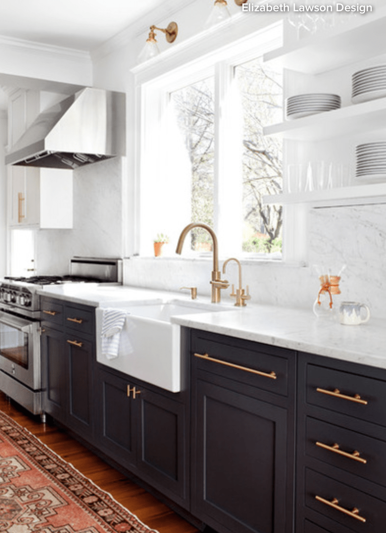 Kitchen with Black Lower White Marble