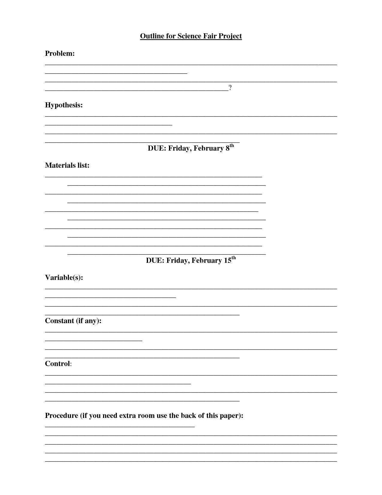 Science Fair Proposal Worksheet