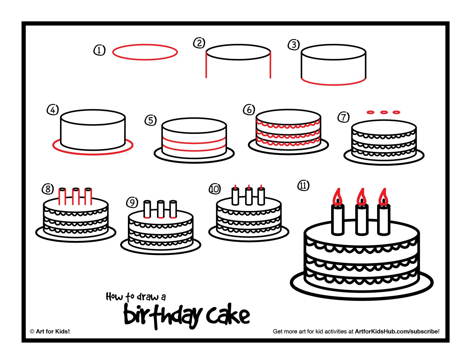 Download A Printable For How To Draw A Birthday Cake Plus