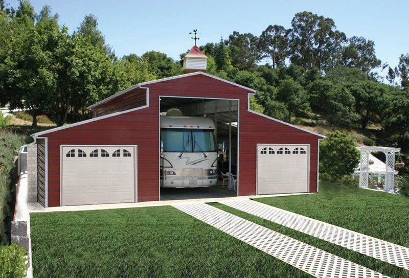 steel building red RV Barn in farm red steel, building