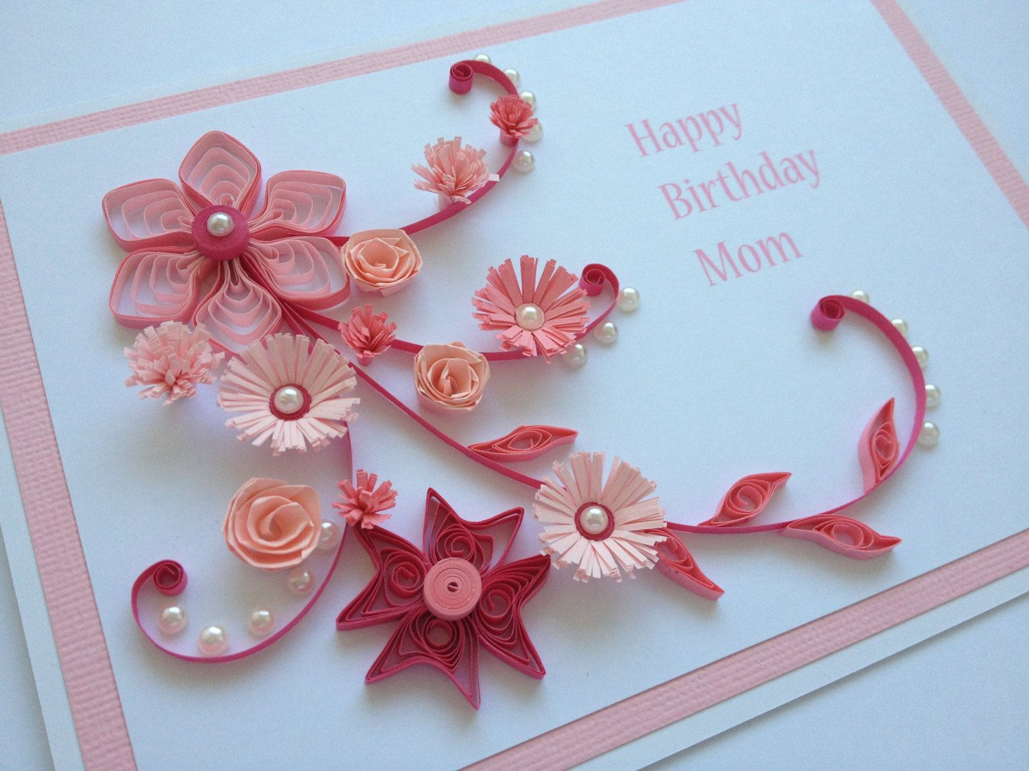 Handmade Quilled paper Birthday Card. Flowers Mum Mom by