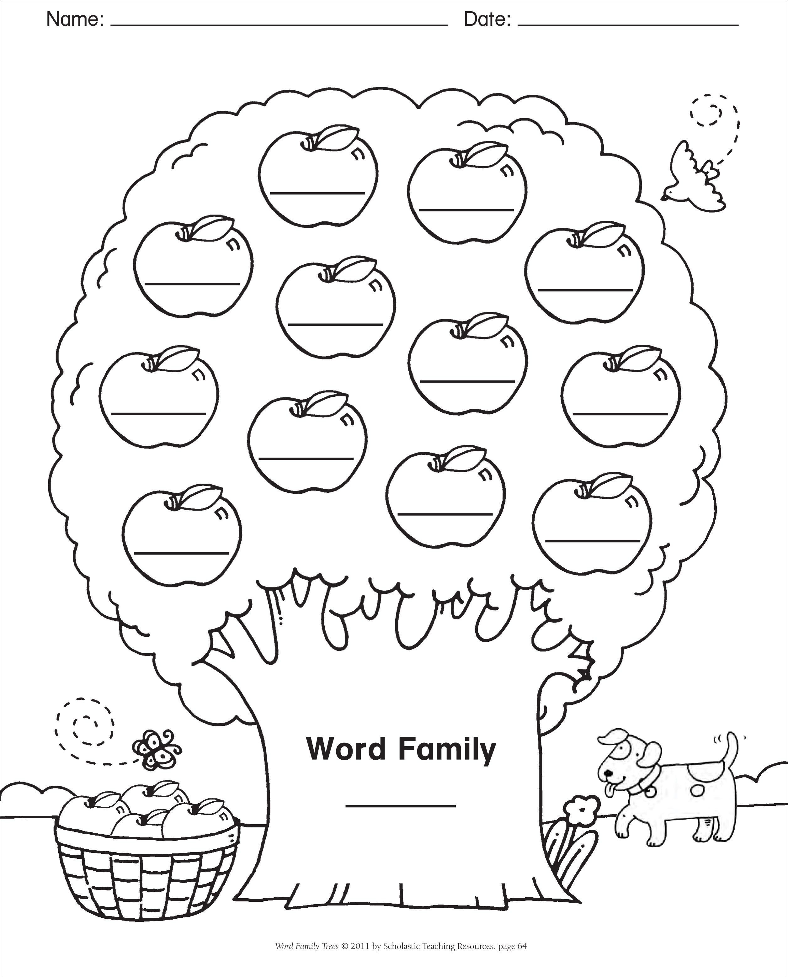 Word Family Template Blank Template Word Family Tree