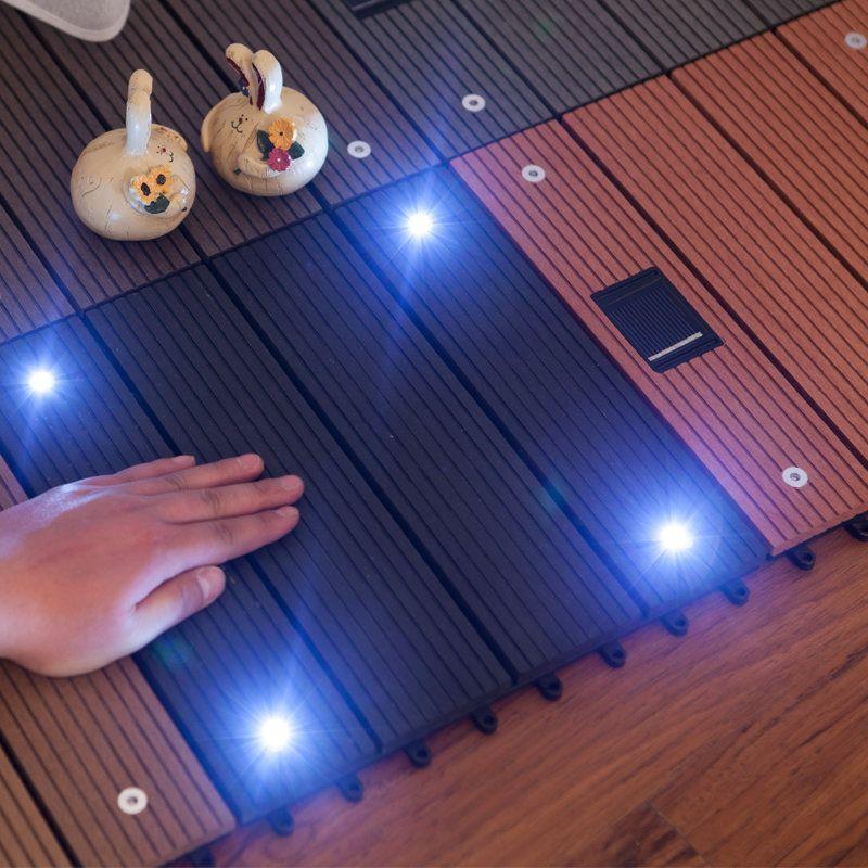 Wood Plastic Composite Flooring with Solar Light Outdoor