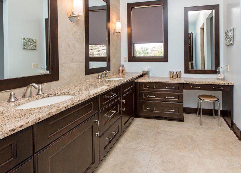 Dark Bathroom Cabinets, Tan Countertops