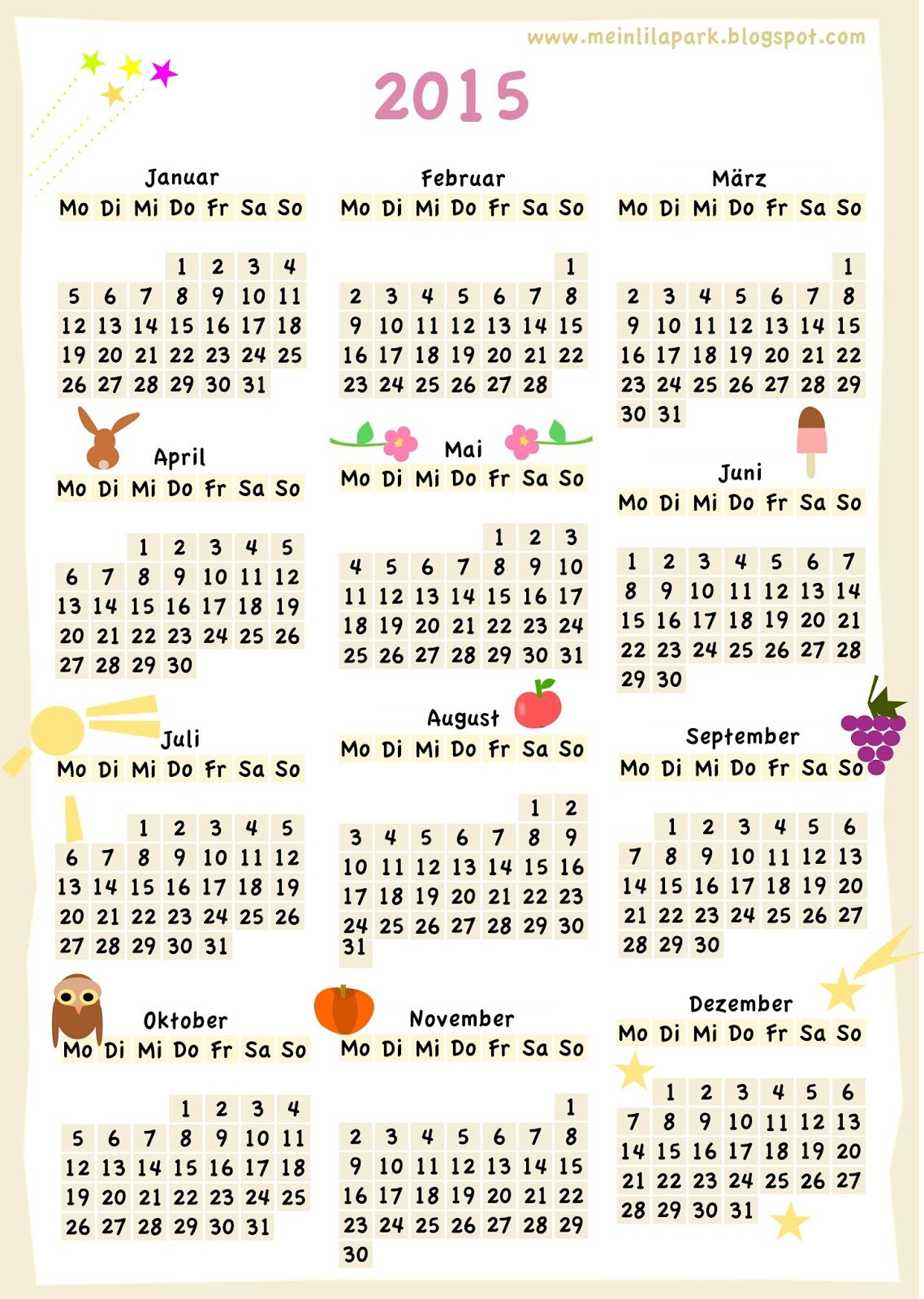 Free Printable Calendar Colorful Year