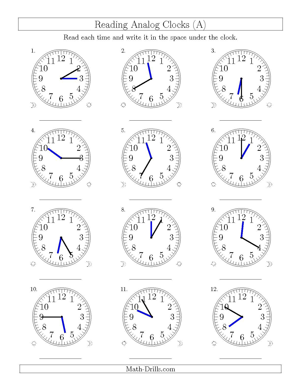 The Reading Time On 12 Hourog Clocks In 5 Minute Intervals A Math Worksheet From The Time