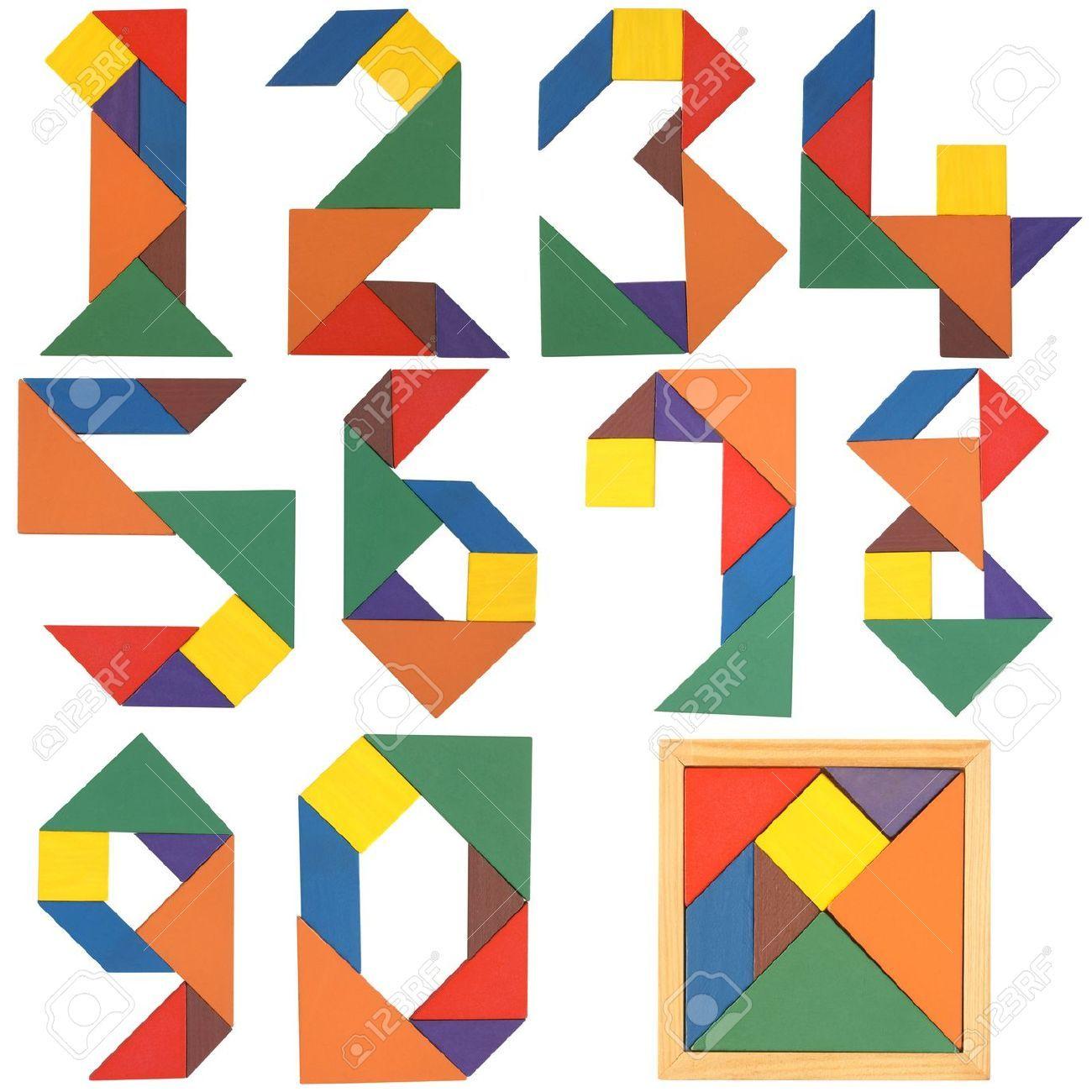Numeros De Serie Tangram Aislado En Un Fondo Blanco