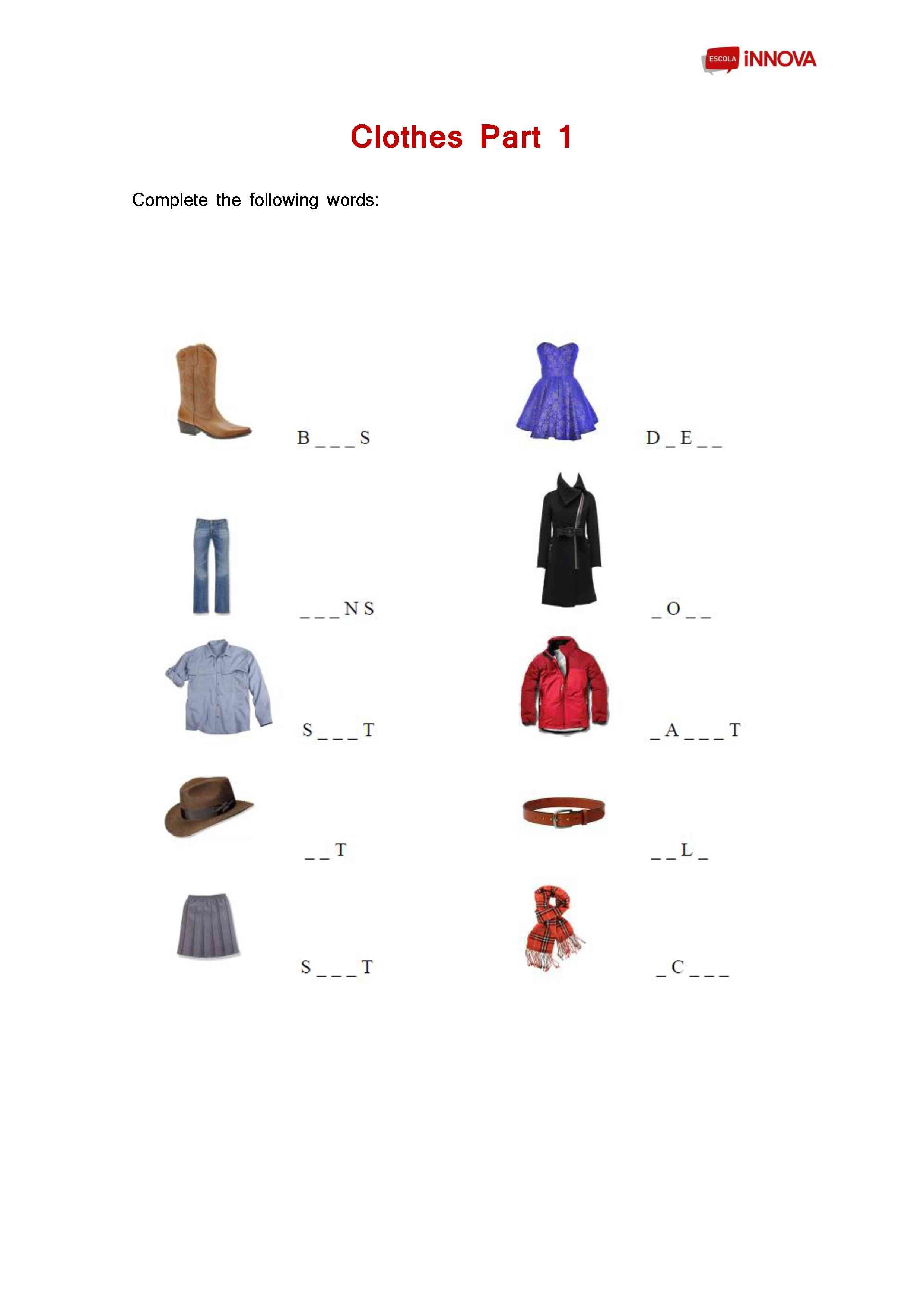 Worksheet Clothes English