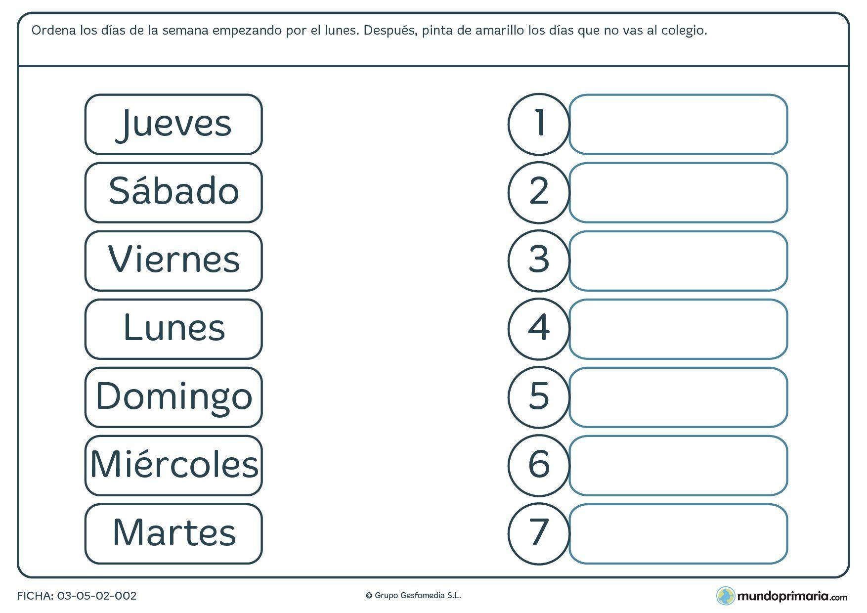 Ficha De Los Dias De La Semana Para Primaria 1 754 1 240 Pixels