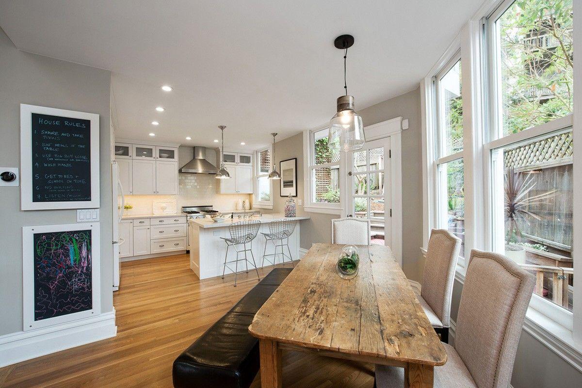 White trim, grey walls, honey oak floor House ideas