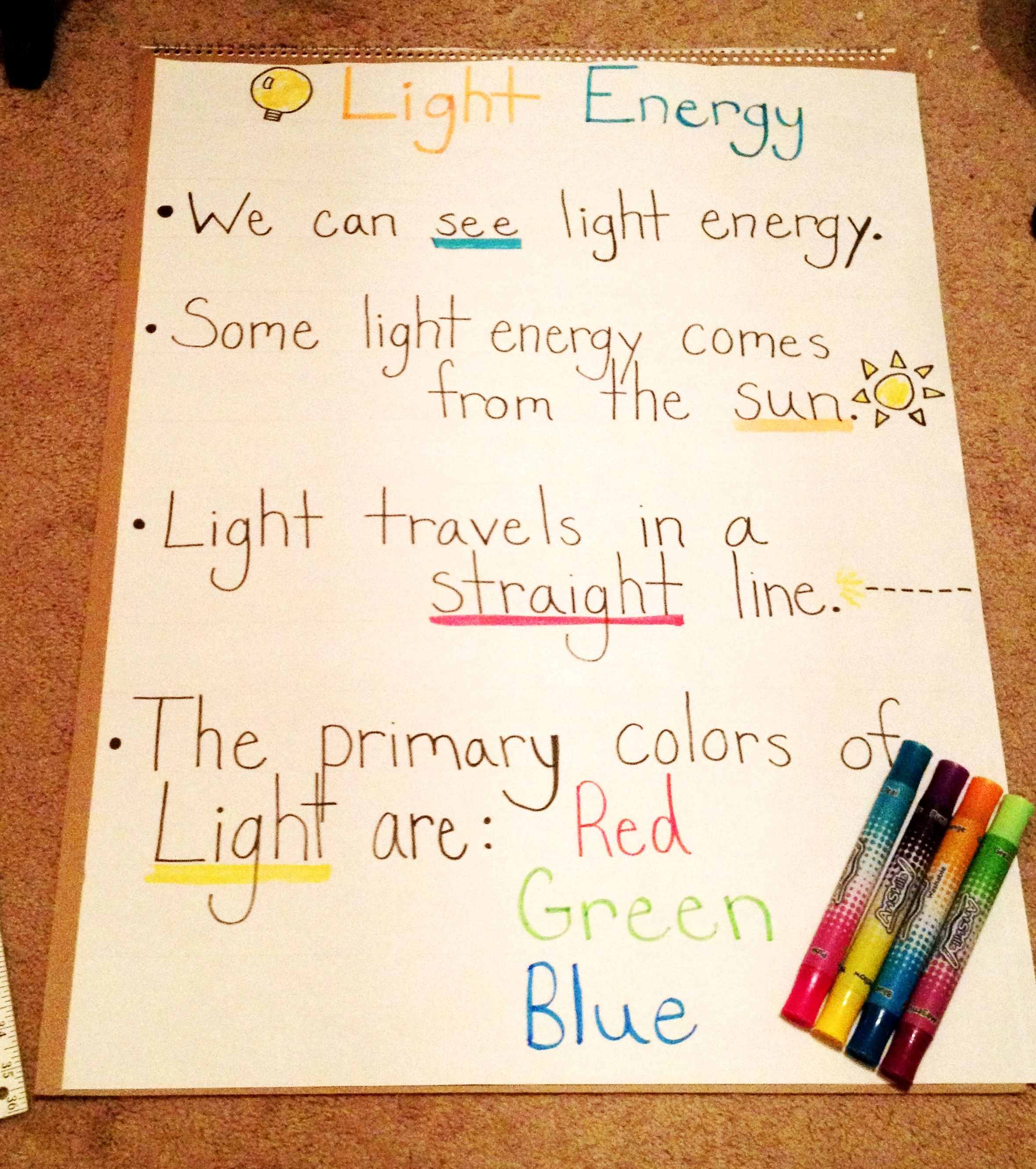 Light Energy Facts For Kids 2nd Grade Anchor Chart I Made