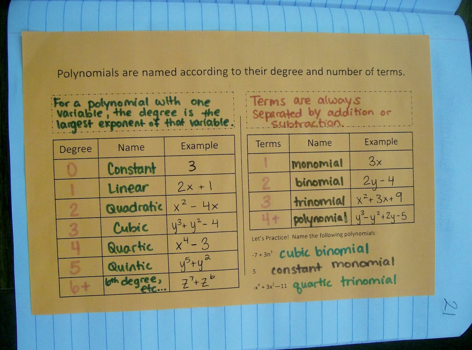 Classifying Polynomials Chart 103