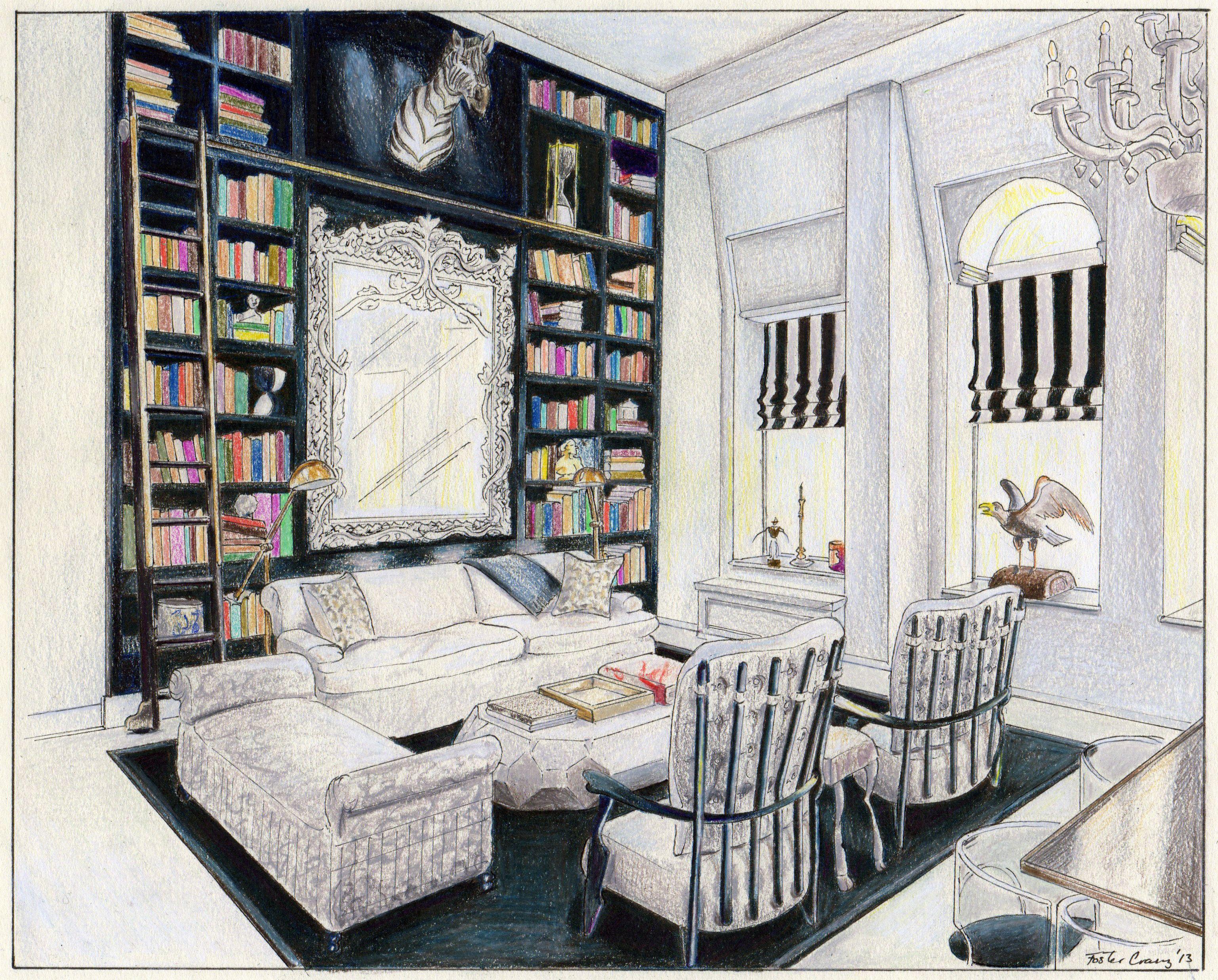 Interior Drawing Of Carolina Georges Soho Penthouse