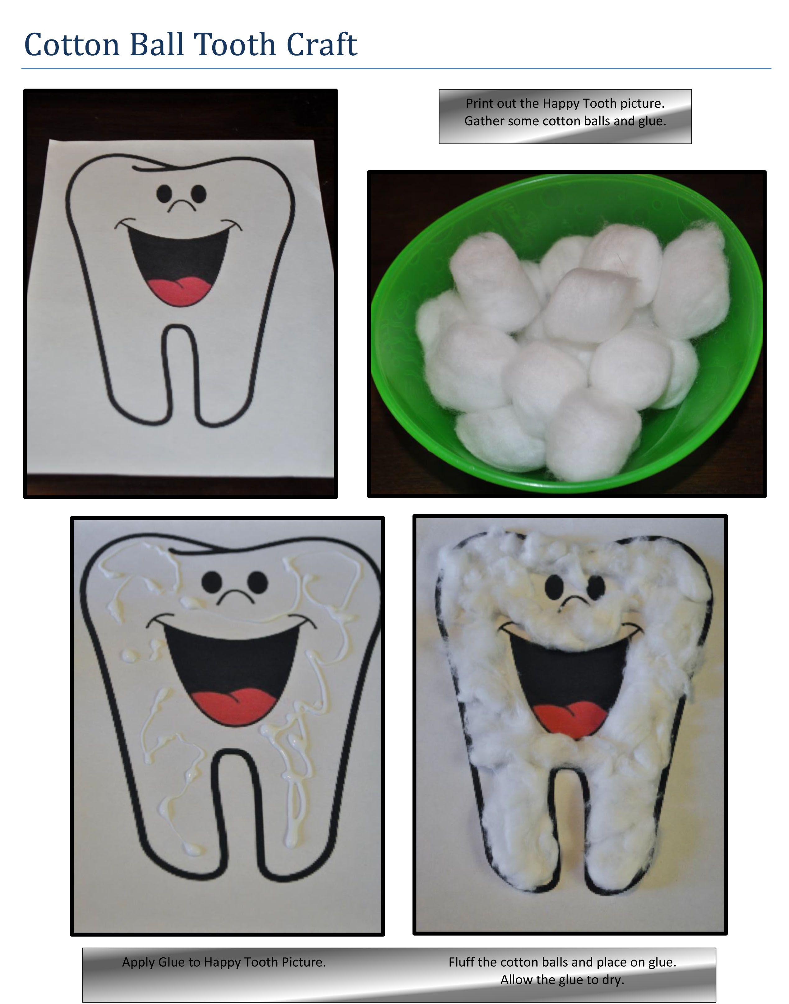 Cotton Ball Tooth Craft