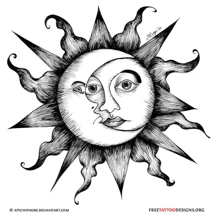 Celestial sun and moon tattoo design Moonface