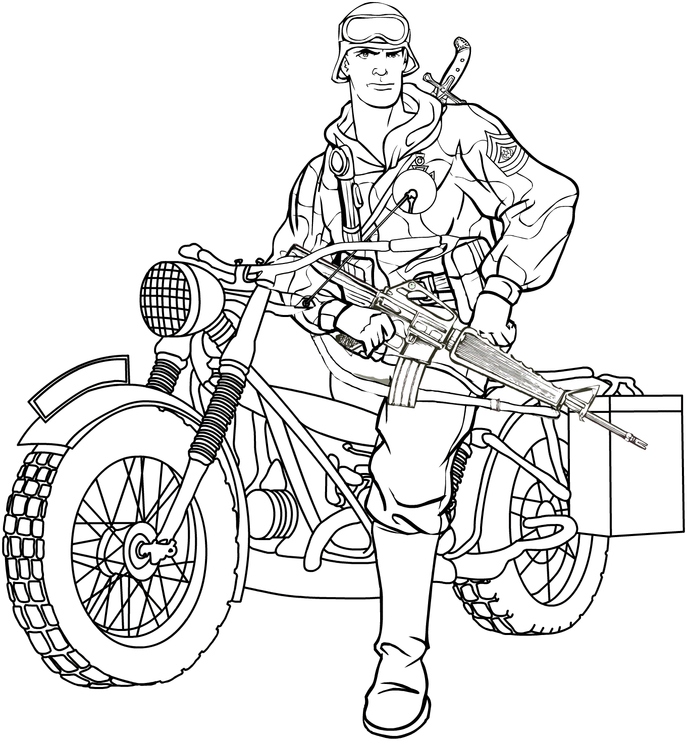 Detailed Line Drawing Vintage Motorcycles