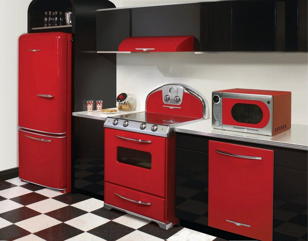 Fascinating Retro Kitchen Design Ideas With Black And Red