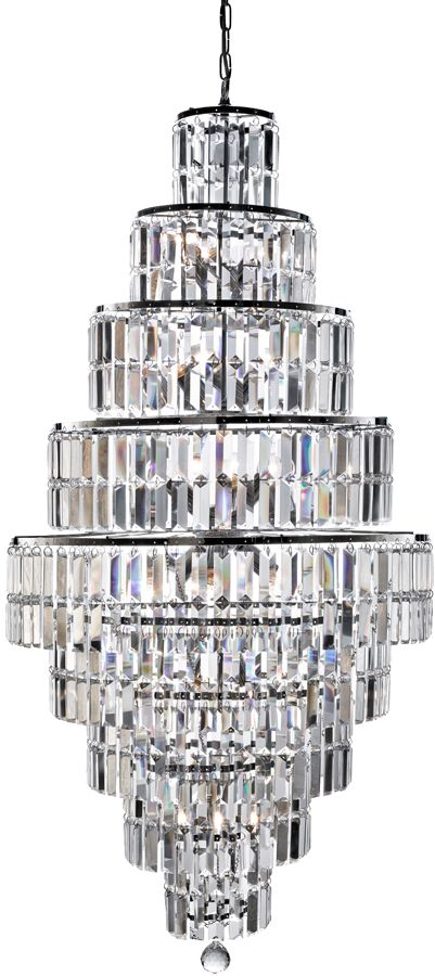 A Spectacular Glittering 13 Light Tiered Art Deco Style Crystal Chandelier With Stunning Rectangular