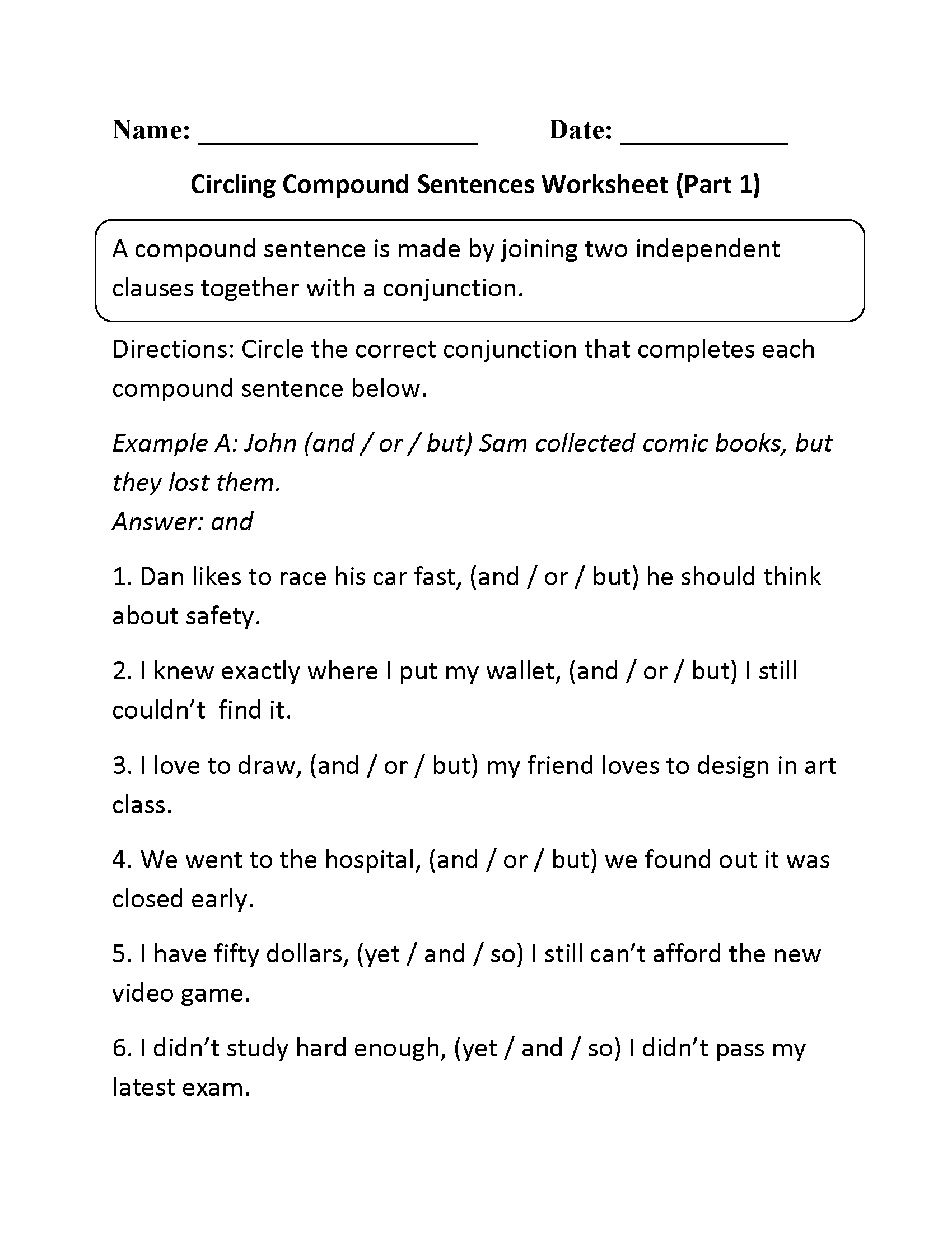 Circling Compound Sentences Worksheet Part 1