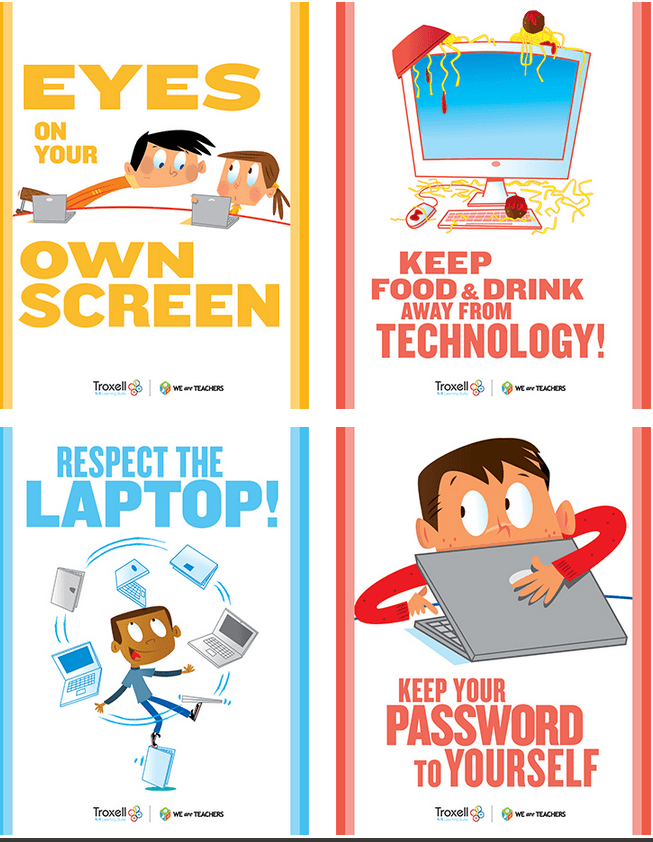 Printable Posters Classroom Technology Rules and