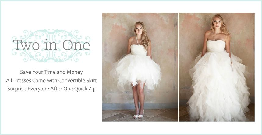 2 In 1 Wedding Dresses With Convertible Skirt, Detachable