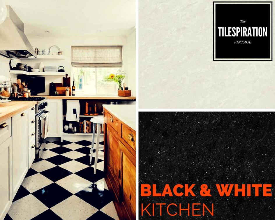 Polished Vitrified Tiles Kajaria Black and White kitchen