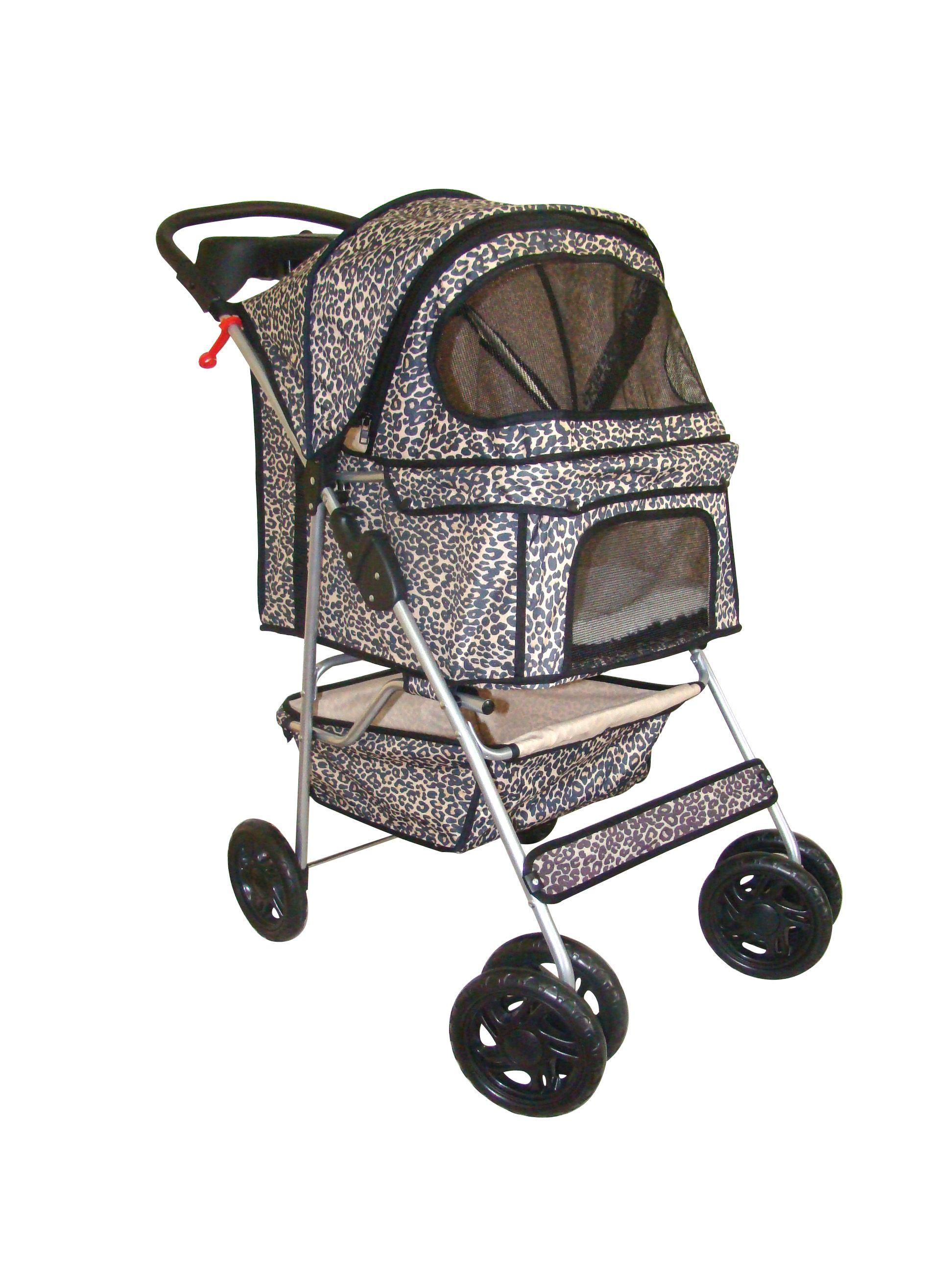 Leopard Print 4 Wheels Dog Stroller (BestPet) Dog