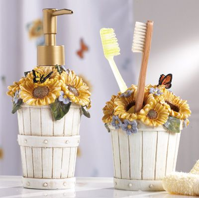 country sunflower basket bathroom accessory set | collectionsetc
