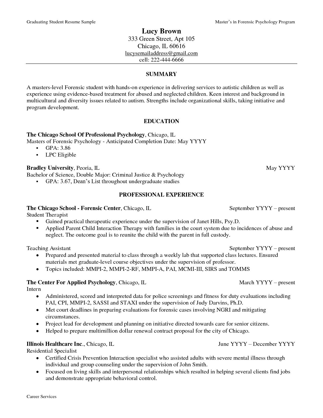 Sample Resume For Psychology Graduate