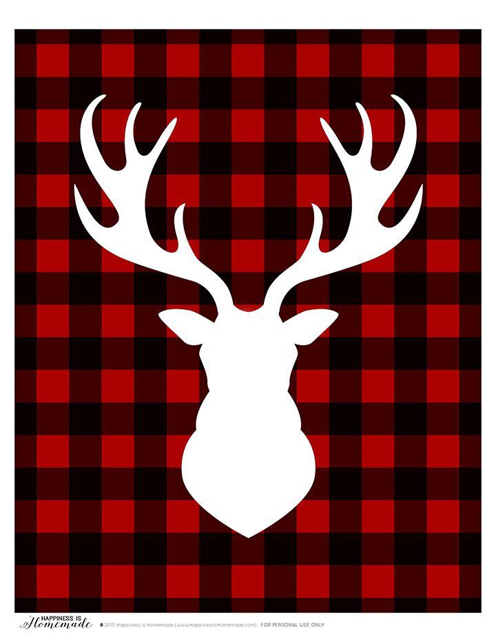 Buffalo check plaid printable gift tags deer head