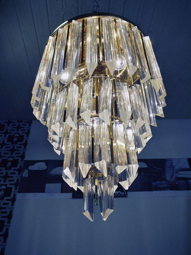Gold Plated Palwa Crystal Prism Chandelier Venini Camer Ebay