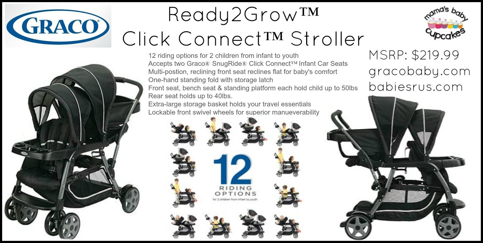 Graco Ready2Grow™ Click Connect™ Stroller Review. Double