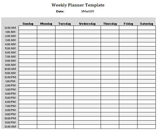 Doc12811656 Time Planner Template 9 daily time planner – 3 Week Calendar Template