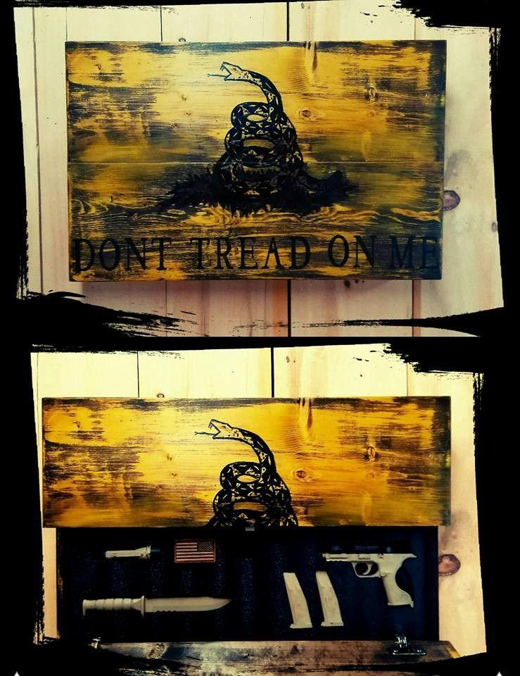 Don't Tread On Me Custom Wooden Flag (Hidden Compartment