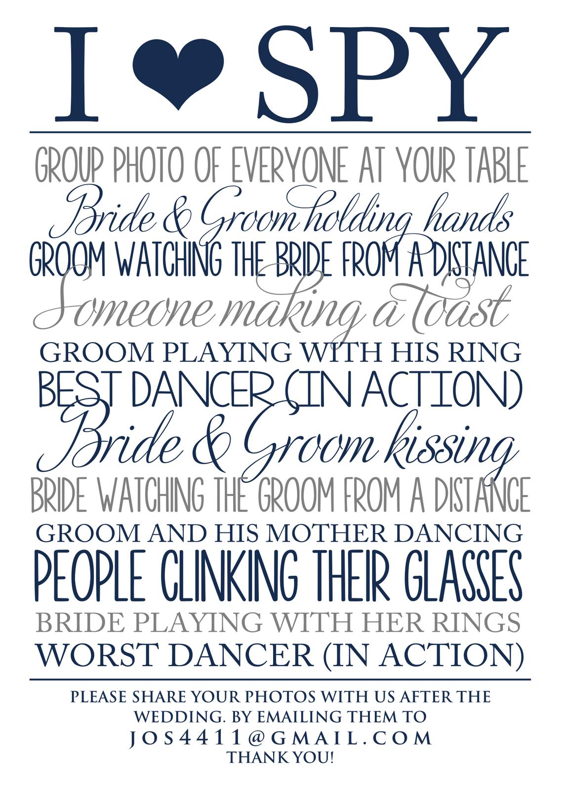 I Spy Wedding Template