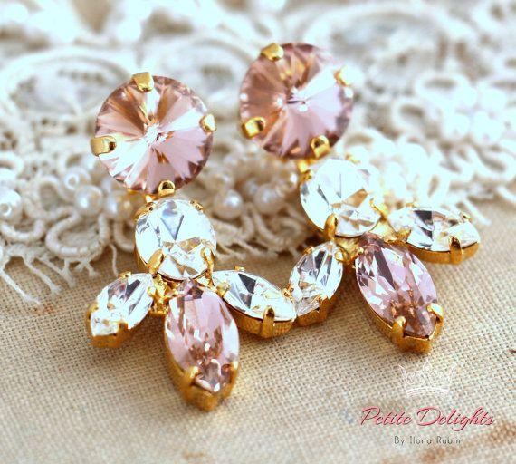 Blush Pink Chandelier Earrings Swarovski Crystal By Iloniti