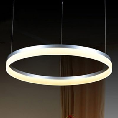 Silver Pratical Simple Led Round Pendant In One Tier