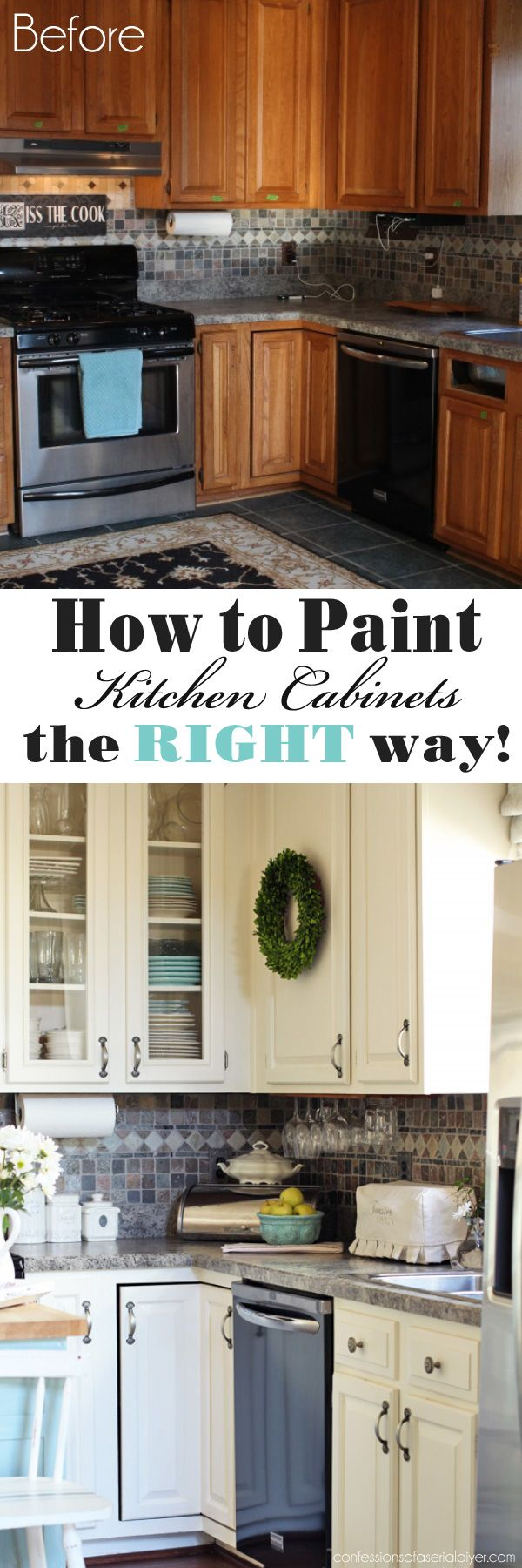 How to Paint Kitchen Cabinets the RIGHT way from Confessions of a Serial Do-it-Yourselfer