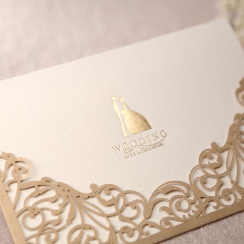 Gorgeous Lace Cut Out Wedding Invitation In Gold Set Of