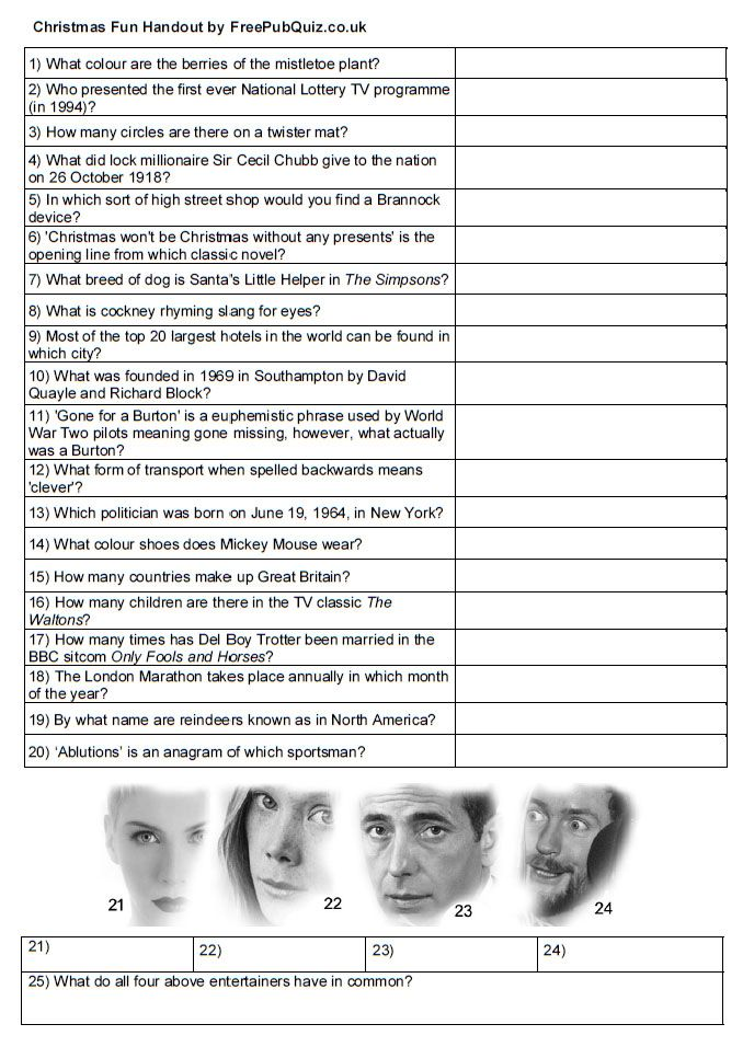 Free Quiz Handout Print and enjoy A4 sheet with