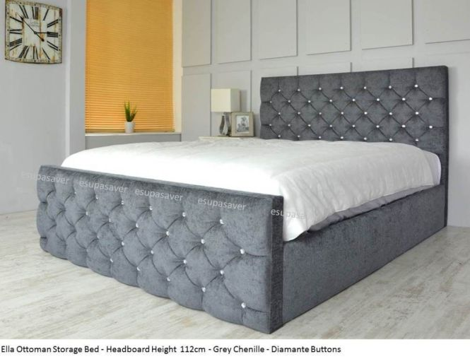 Ella Ottoman Storage Bed Upholstered In Chenille Or Crushed Velvet Made Uk