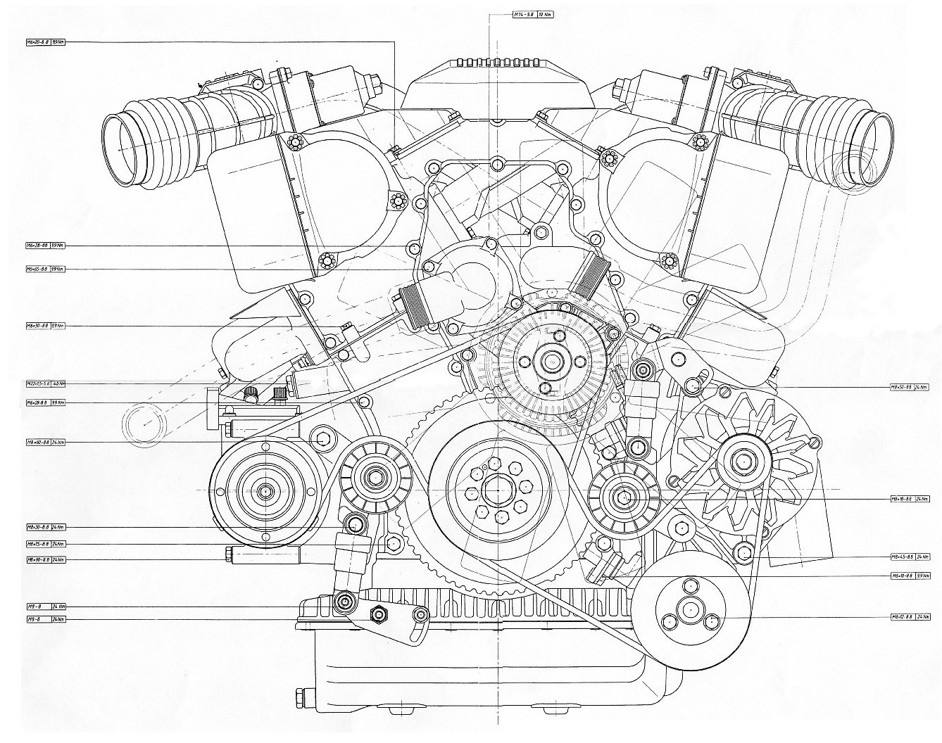 V12 Engine Blueprint Bmp 4mb Front View